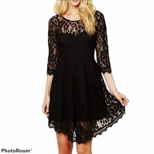 FREE PEOPLE Floral Mesh Lace Babydoll Dress